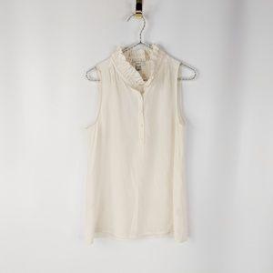 J CREW cream silk ruffled neck sleeveless blouse